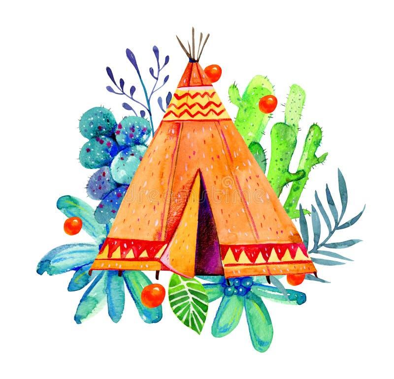 Zwei Tipi des amerikanischen Ureinwohners Stilisierte Handgezogener Aquarell-Illustrationssatz stock abbildung