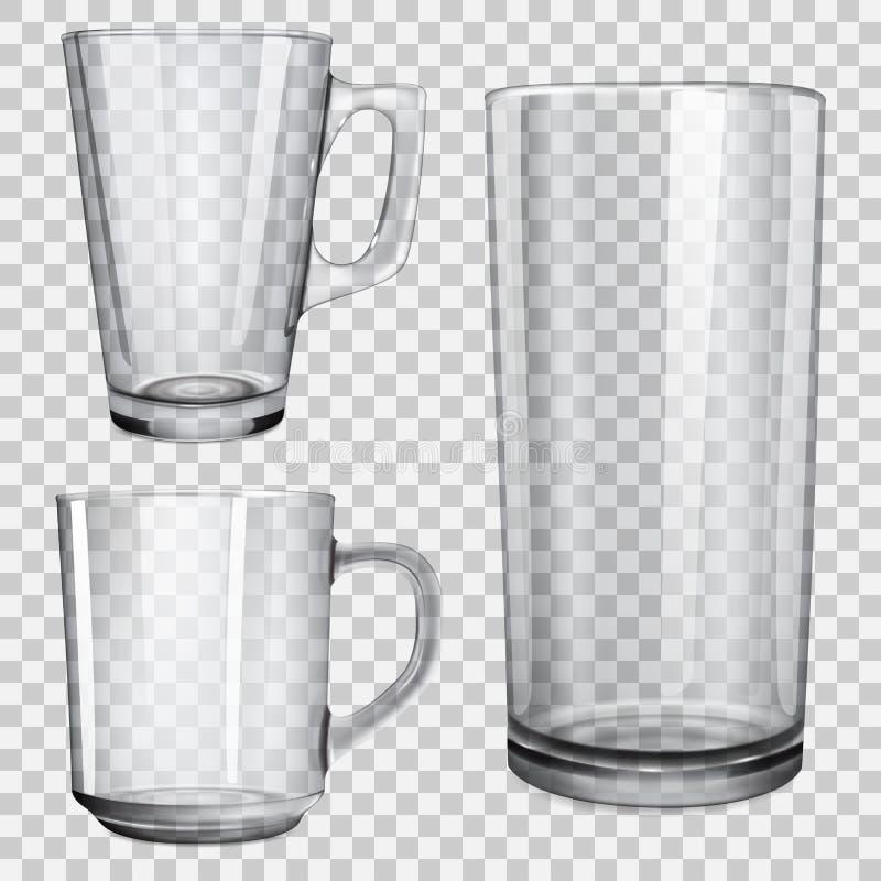 Zwei transparente Glasschalen und ein Glas für Saft vektor abbildung