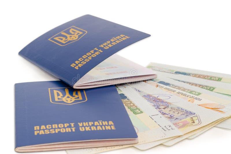 Zwei ukrainische Pässe auf der Reisevisumsnahaufnahme stockfoto
