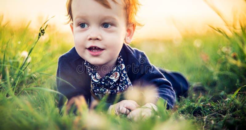 zwei und ein halbes nettes Jungenporträt an der sonnigen Wiese lizenzfreie stockfotos