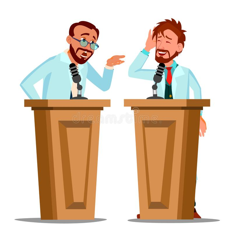 Zwei Unterhaltungstribüne doktor-Argue Behind The mit Mikrofon am Konferenz-Vektor Lokalisierte Karikaturillustration lizenzfreie abbildung