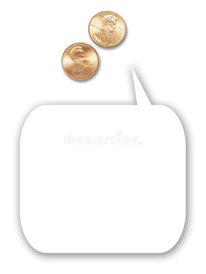 Zwei US-Pennys mit Karikaturgedankenballon stockfotografie