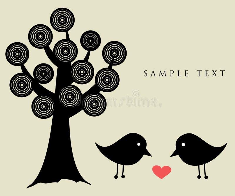 Zwei Vögel auf dem Liebesdatum vektor abbildung