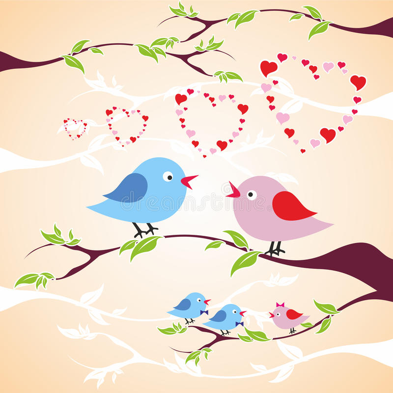 Zwei Vögel in der Liebe auf der Niederlassung stockfotografie