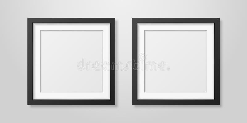 Zwei Vektor realistische Plakat-Bilderrahmen-gesetzte Innennahaufnahme Mofern schwarze leere quadratische hölzerne auf weißem Wan lizenzfreie abbildung