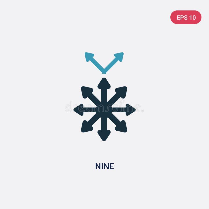 Zwei Vektorikone der Farbe neun vom Orientierungskonzept lokalisiertes blaues Zeichensymbol mit neun Vektoren kann Gebrauch für N lizenzfreie abbildung