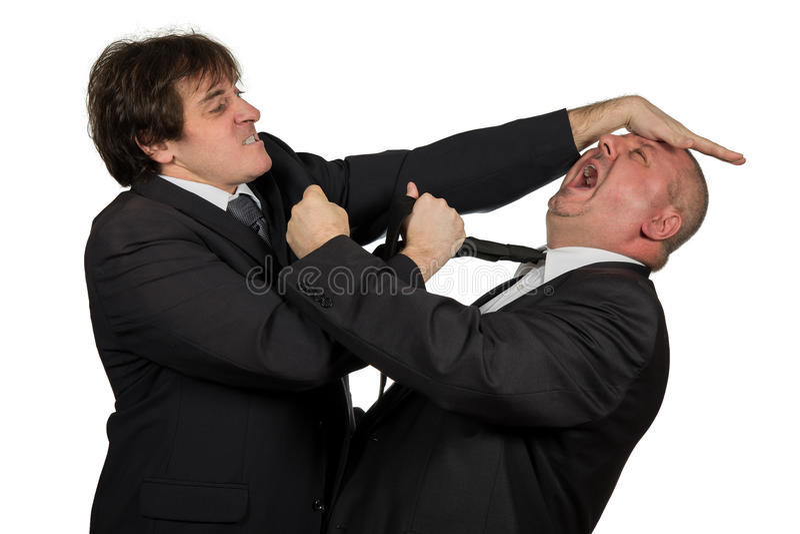 Zwei verärgerte Geschäftskollegen während eines Arguments, lokalisiert auf weißem Hintergrund lizenzfreie stockfotos