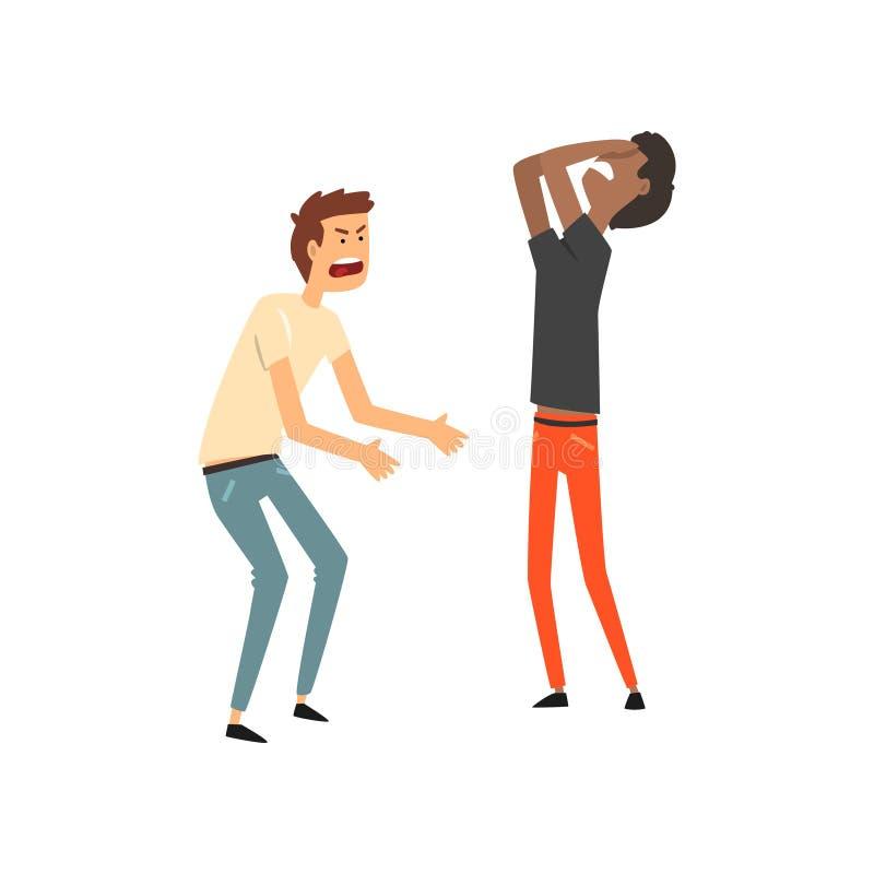 Zwei verärgerte Männer, die mit einander, harte Gesprächsvektor Illustration auf einem weißen Hintergrund argumentieren lizenzfreie abbildung