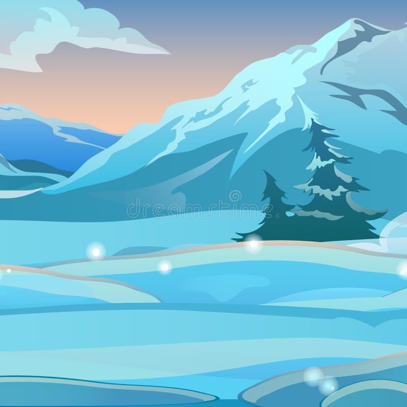 Zwei verbogen spruce auf den Hintergrund des Schnees auf einem klaren eisigen Morgen Sonnenaufgang in den schneebedeckten Bergen  stock abbildung