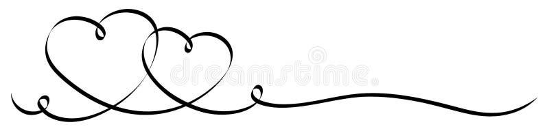 Zwei verbundene Kalligraphie-Schwarz-Herzen mit dem zwei Squiggles-Band stock abbildung