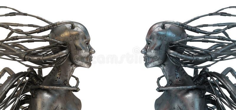 Zwei verdrahtete Roboter auf Weiß lizenzfreie abbildung