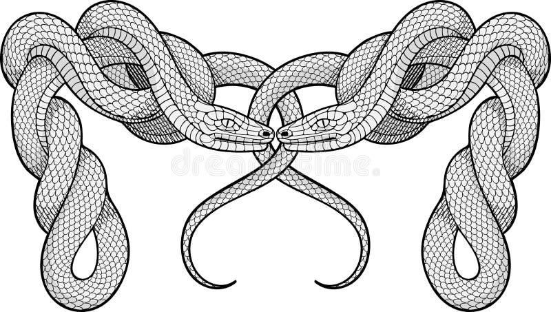 Zwei verdrehte Schlangen Dekoratives Element lizenzfreie abbildung