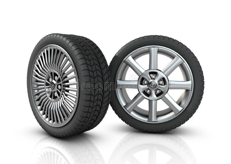 Zwei verschiedene Mag-Räder lizenzfreie abbildung