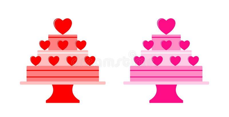 Zwei Versionen des Kuchens und des Kuchenstands vektor abbildung