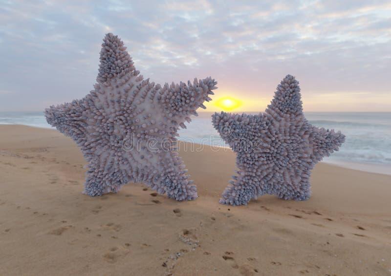 Zwei violette Starfish auf sandigem Strand mit Illustration des Sonnenaufgangs 3d vektor abbildung
