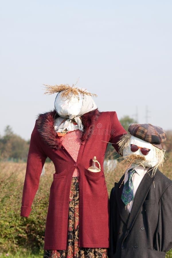 Zwei Vogelscheuchen stockbild