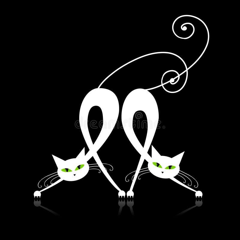 Zwei würdevolle weiße Katzen, Schattenbild lizenzfreie abbildung