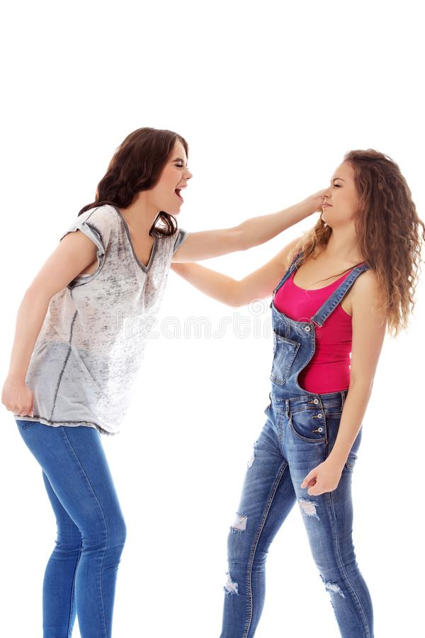 Zwei wütende kämpfende und schreiende Frauen stockfotografie