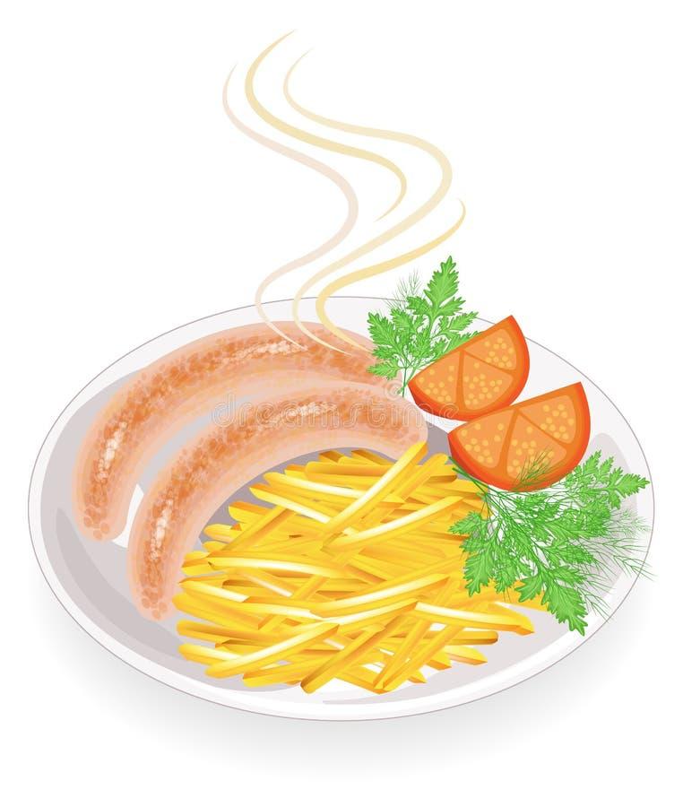 Zwei W?rste auf einer Platte Garnierung briet Kartoffeln, Gemüse, Tomate und Grüns des Dills und der Petersilie Heißer Teller zum stock abbildung