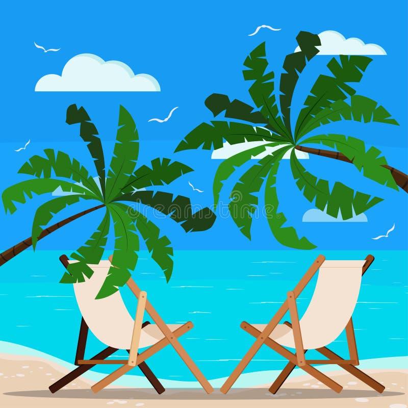Zwei Wagenaufenthaltsräume auf schönem Meerblick: Palmen, ruhiger Ozean, Sandküstenlinie, Seemöwen, Wolken stock abbildung