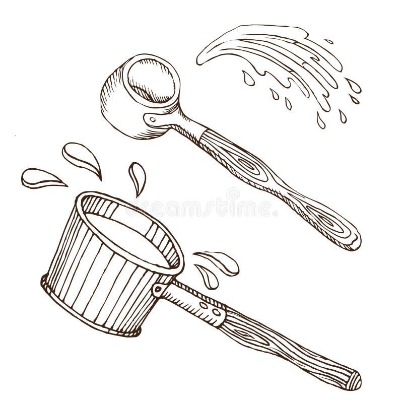 Zwei Waschlappen für russisches Bad für Körperhygiene Satz Zubehör für Bad, Sauna Handzeichnung in der Skizzenart vektor abbildung