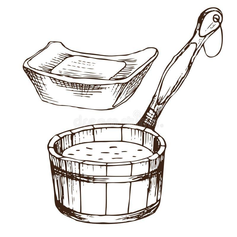 Zwei Waschlappen für russisches Bad für Körperhygiene Satz Zubehör für Bad, Sauna Handzeichnung in der Skizzenart lizenzfreie abbildung
