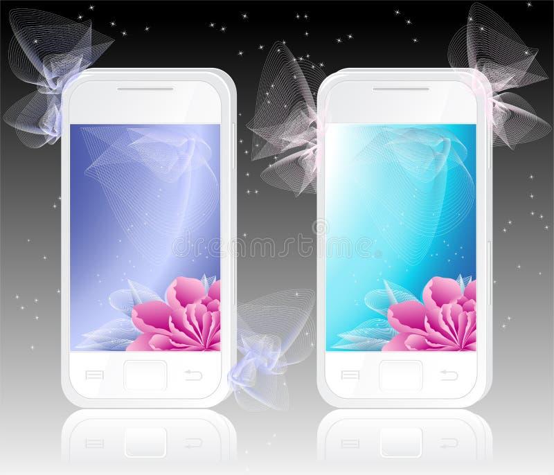 Zwei weiße Handys mit Blumen Hintergrund vektor abbildung