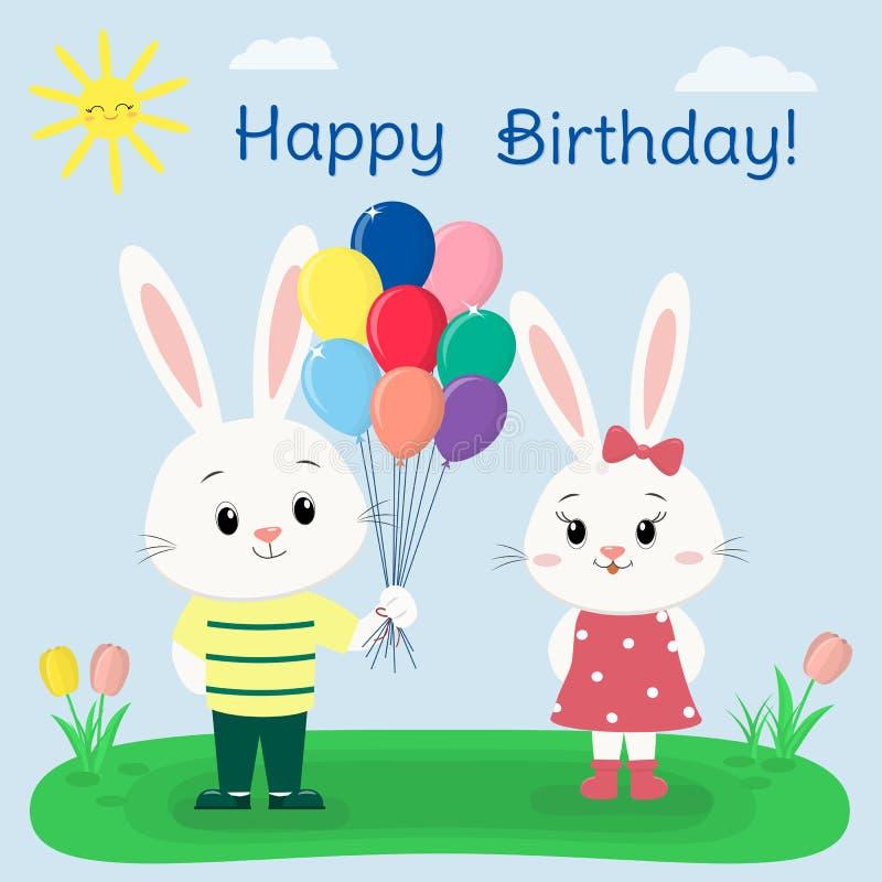 Zwei weiße Kaninchen in der Kleidung in einer Sommerlichtung Der Junge gibt dem Mädchen die Ballone Karikaturart, alles Gute zum  stock abbildung