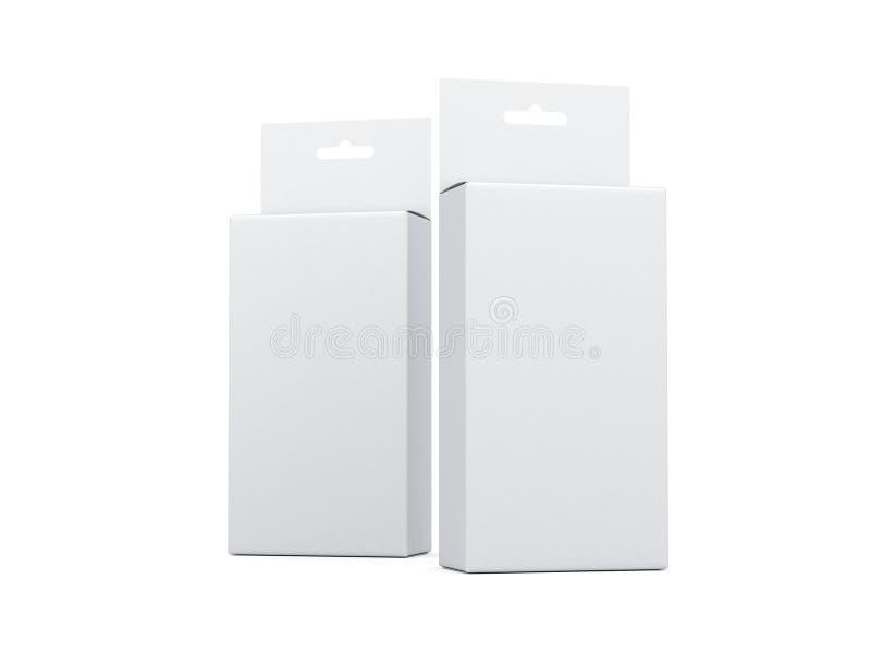 Zwei weiße Pappschachteln mit Hang Tab Mockup vektor abbildung