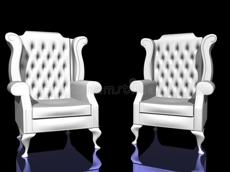 Zwei weiße Stühle lizenzfreie abbildung