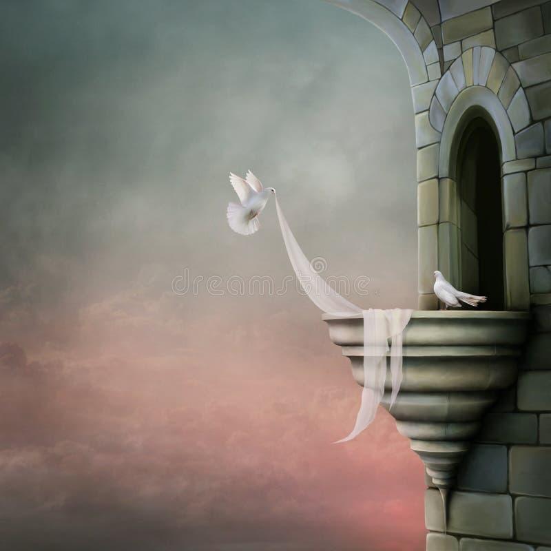 Zwei weiße Tauben auf dem Balkon vektor abbildung