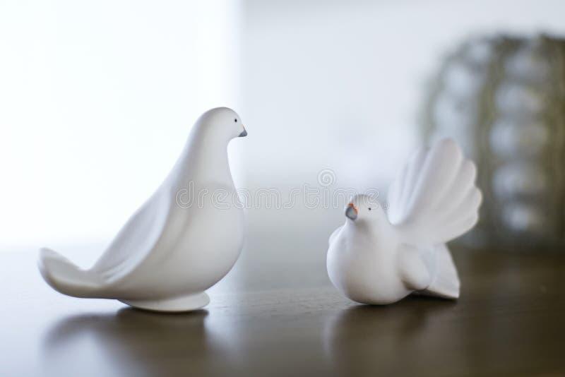 Zwei weiße Vogelzahlen Stand lizenzfreies stockfoto