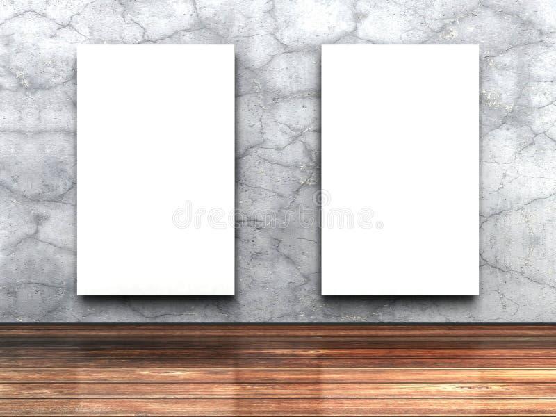 Zwei weißer leerer Poster auf Betonmauer und Holzfußboden stock abbildung