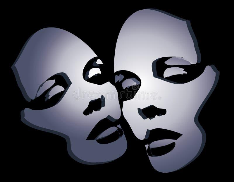 Zwei Weibliche Gesichtsmasken 2 Stockfotografie