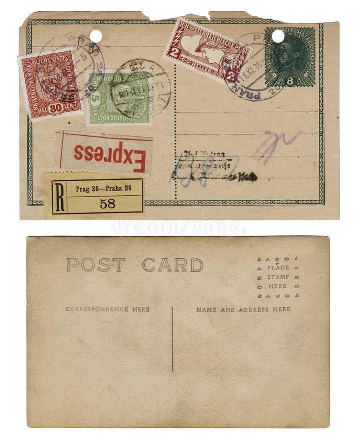 Zwei Weinlese-antike Postkarten lizenzfreie stockbilder