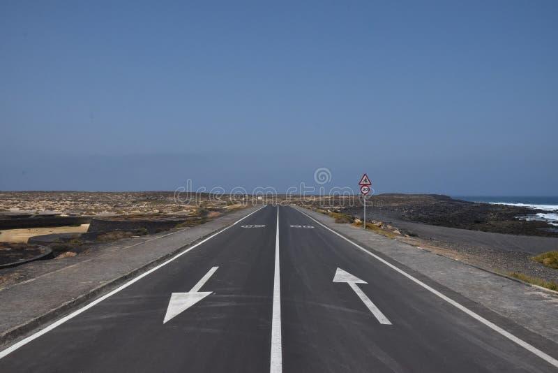 Zwei-Weisenstraße nahe dem Meer lizenzfreies stockfoto