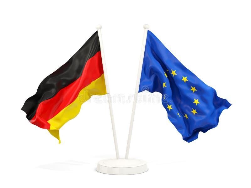Zwei wellenartig bewegende Flaggen Deutschland und EU vektor abbildung