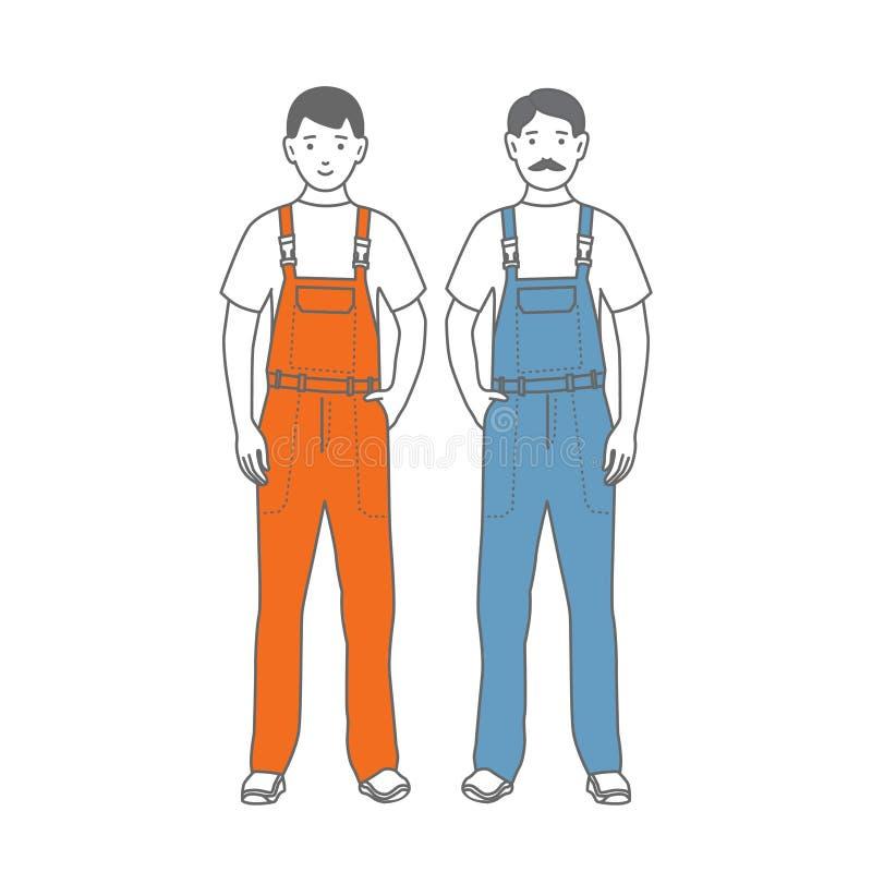Zwei Zahlen von männlichen Arbeitskräften stock abbildung