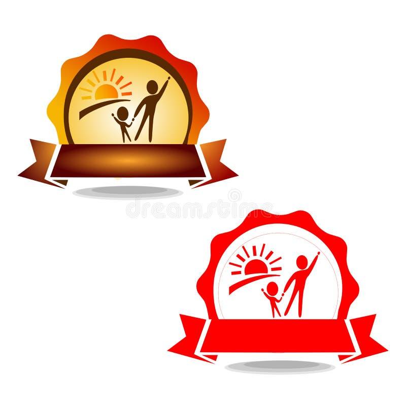 Zwei Zahlen vor dem hintergrund der Dämmerung Ein einfaches Logo über Bildung und Kindheit lizenzfreie abbildung
