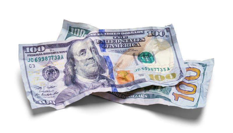 Zwei zerquetschten hundert Dollarscheine lizenzfreie stockfotografie