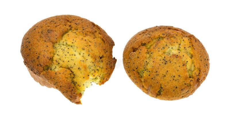Zwei Zitronenpfeffer-Frühstücksmuffins auf einem weißen Hintergrund stockfoto