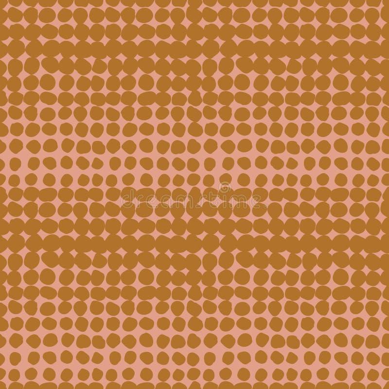 Zweifarbiges unregelmäßiges punktiertes horizontales nahtloses Vektorhalbtonmuster des Zusammenfassungsschmutzes Senfpunkte auf r vektor abbildung