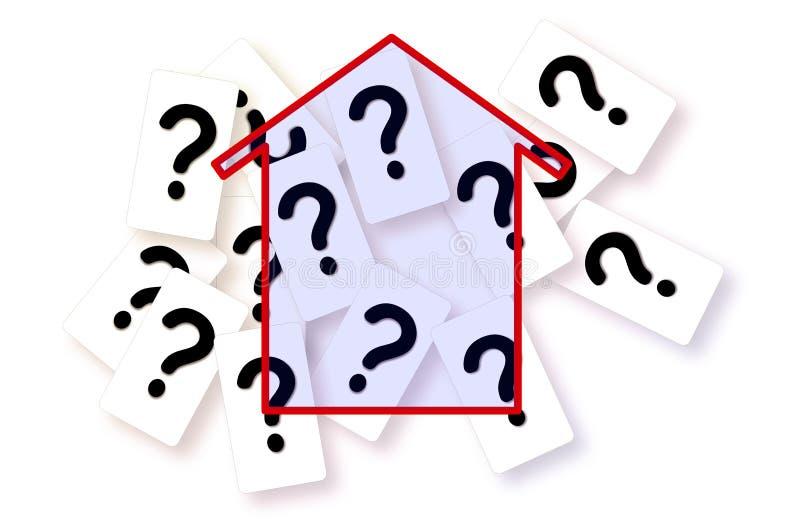 Zweifel, Fragen und Ungewissheiten über Gebäude - Konzeptbild lizenzfreies stockbild