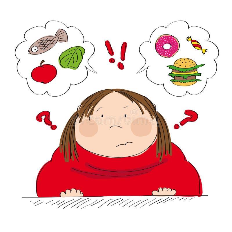 Zweifelhafte fette Frau, die an Lebensmittel, versuchend, was zu entscheiden zu essen denkt stock abbildung