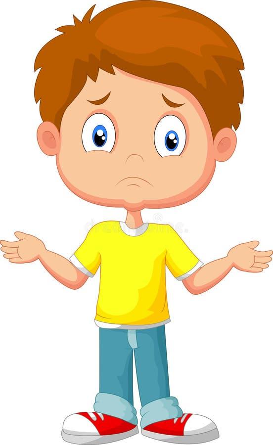 Zweifelhafte Jungenkarikatur, die mit den Händen gestikuliert vektor abbildung
