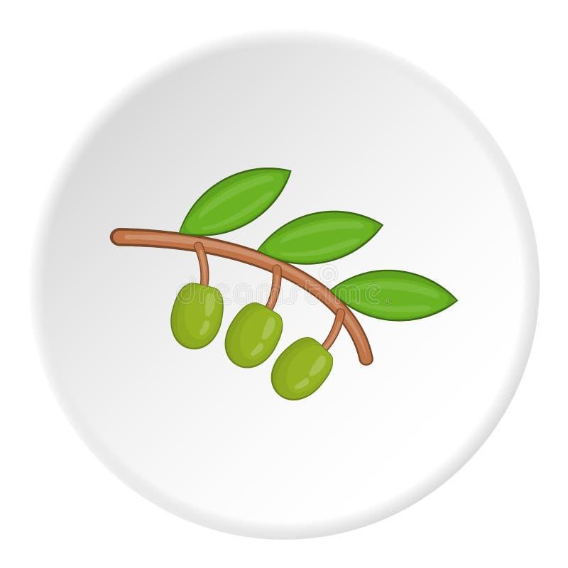 Zweig der olivgrünen Ikone, Karikaturart stock abbildung