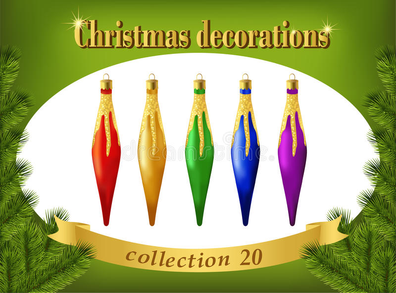 Zweig, Kasten, Handbell, Kugel Sammlung dekorative Eiszapfen lizenzfreie abbildung