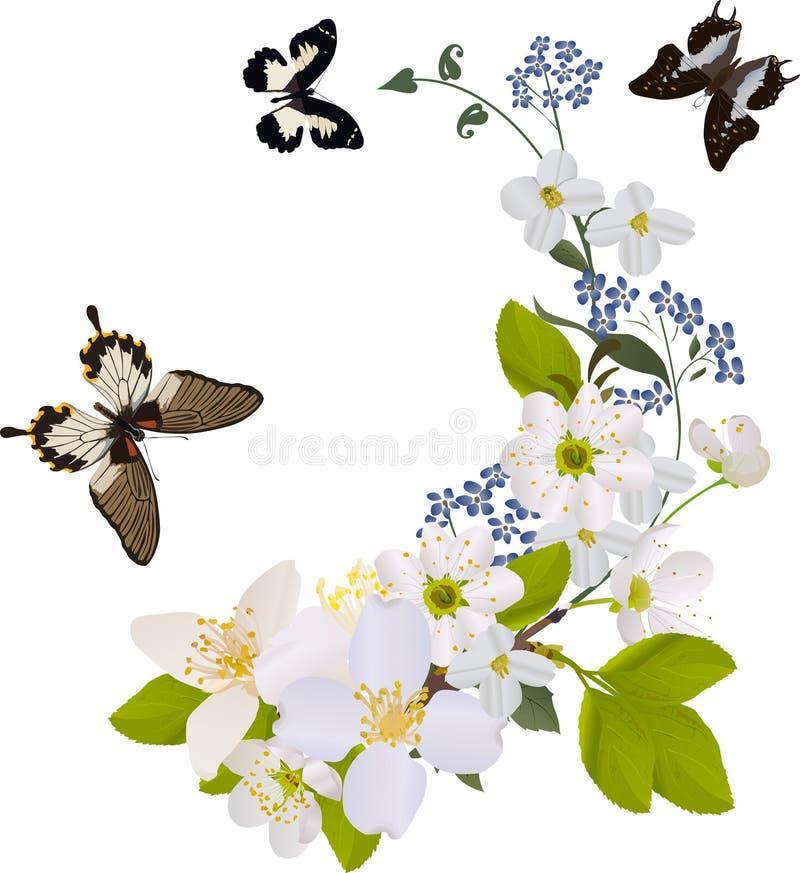 Zweige der weißen Blume mit drei Basisrecheneinheiten stock abbildung