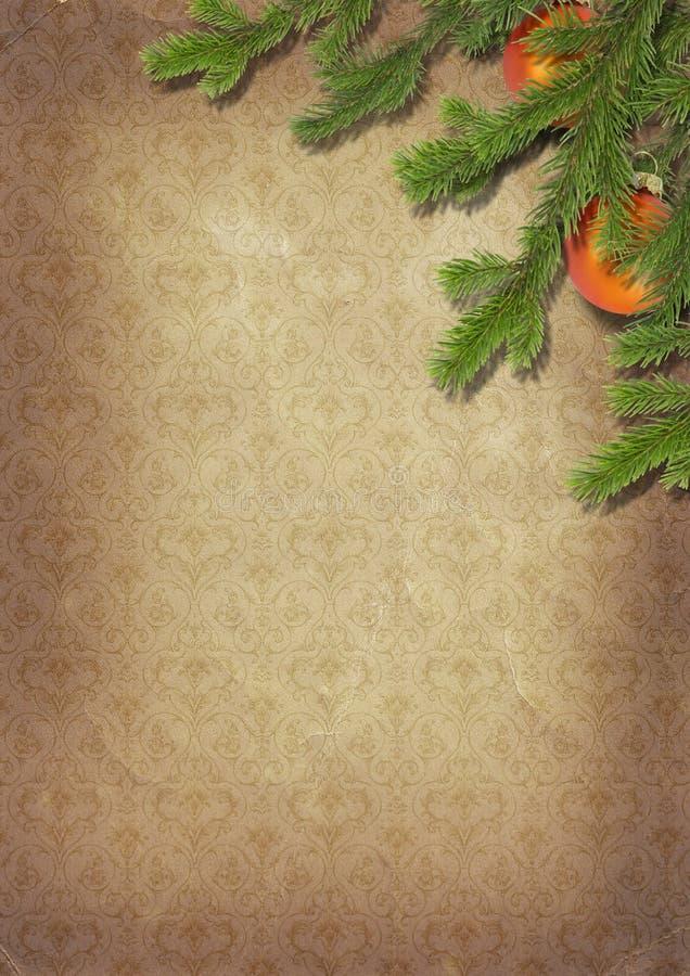 Zweige eines Weihnachtsbaums auf altem lpaper. Retro-. vektor abbildung