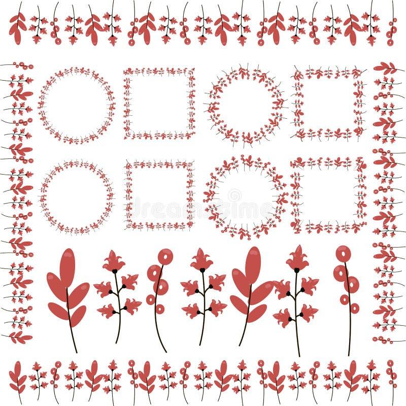 Zweige mit den roten Blumen, Ringellocken, Blättern, Rahmen und den Beschränkungen lokalisiert auf weißem Hintergrund lizenzfreie abbildung